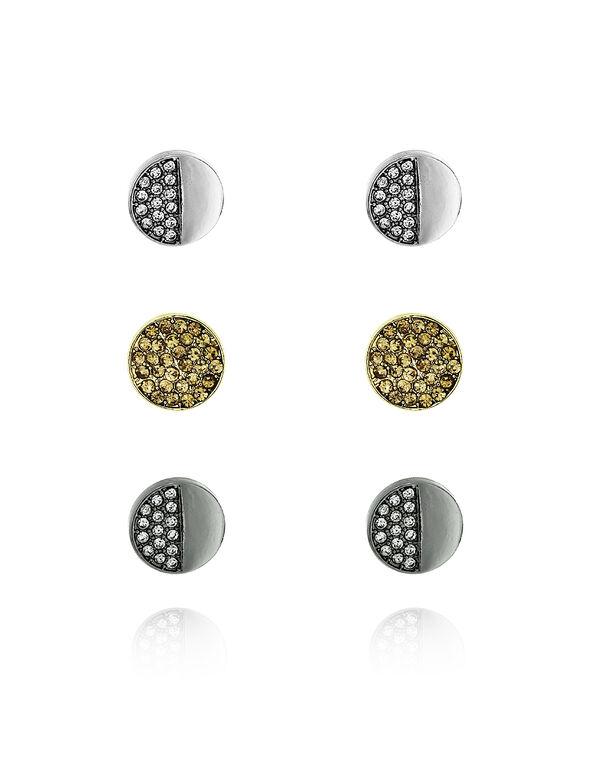 Button Stud Earring Set, Hemi/Gold/Rhodium, hi-res