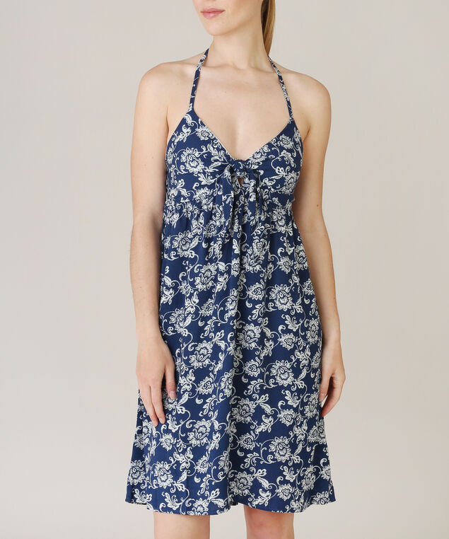 tie front dress, NAVY PRINT, hi-res