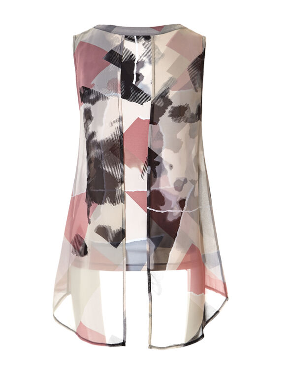 Abstract Fly Away Chiffon Top, Stone/Peony/Black/Grey, hi-res