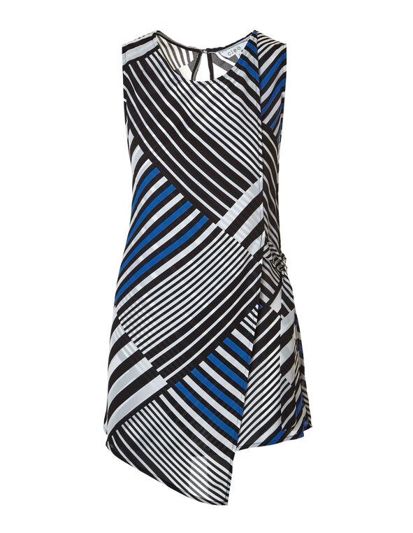 Mixed Stripe Wrap Front Blouse, White/Black/Blue, hi-res