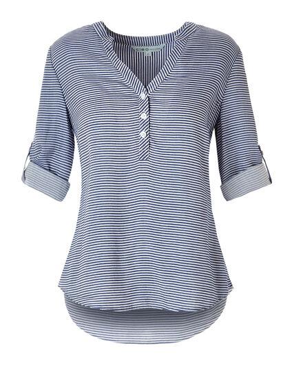 Blue Stripe Blouse, Navy/White, hi-res