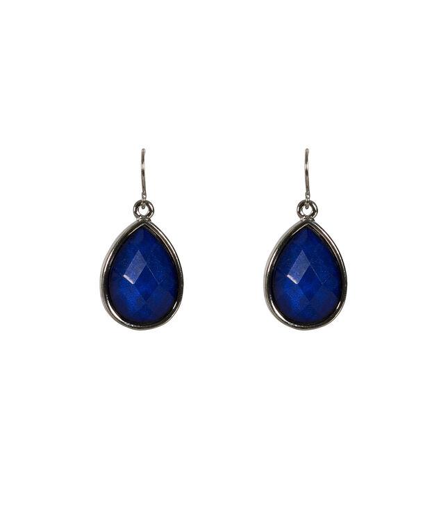 Faceted Teardrop Earring, Blue/Rhodium, hi-res