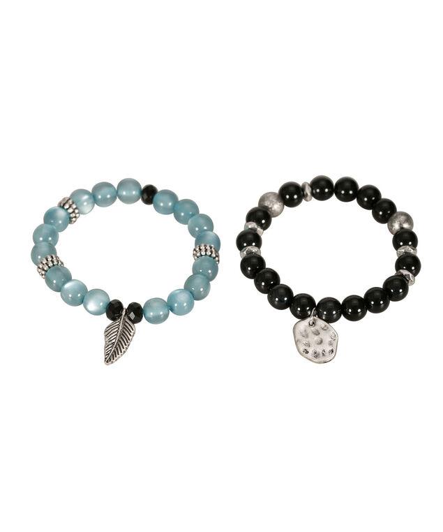 Beaded Feather Charm Bracelet Set, Teal/Black/Burnished Silver, hi-res