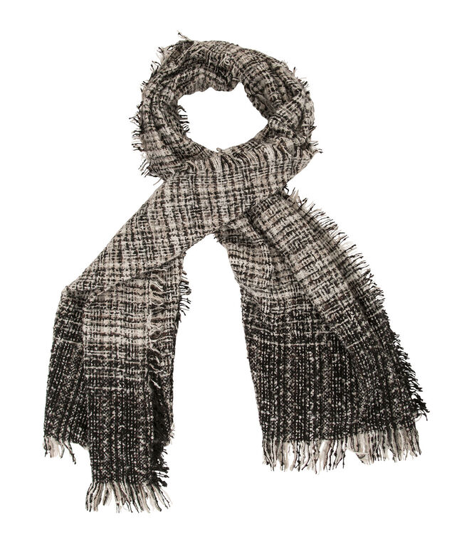 Plush Blanket Scarf, Black/White/Neutral, hi-res