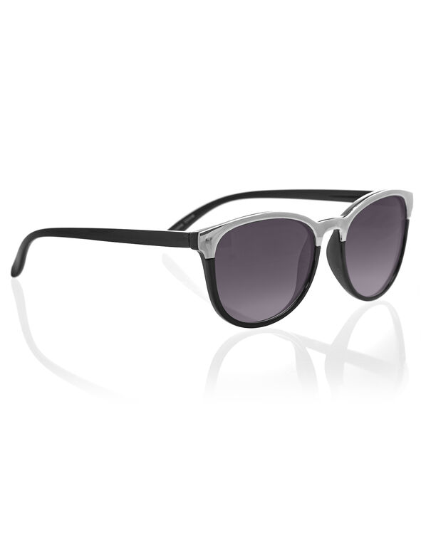 Black Wayfarer Sunglasses, Black/Silver, hi-res