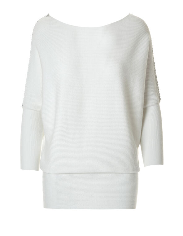 Ivory Chain Sleeve Sweater, Ivory/Silver, hi-res