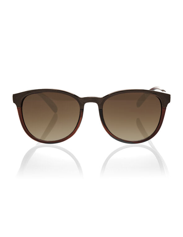 Brown Wayfarer Sunglasses, Brown, hi-res