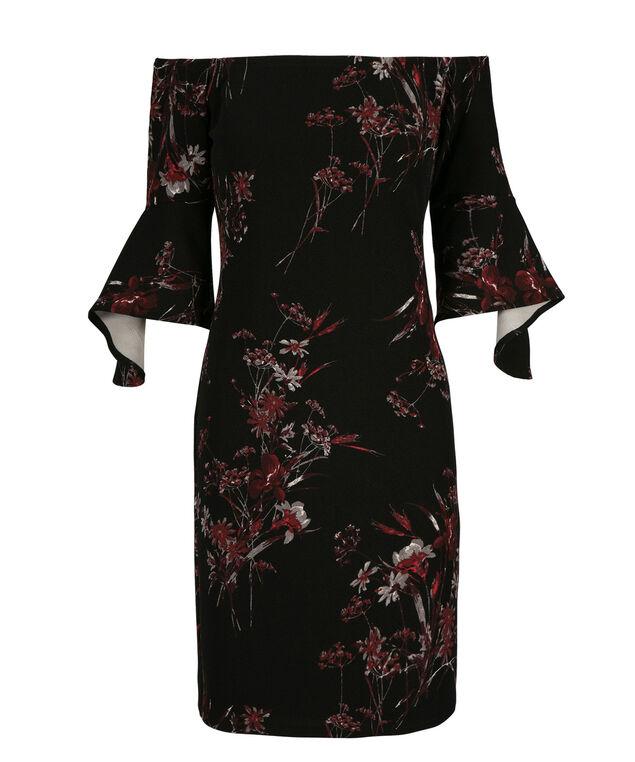 Bell Sleeve Romance Dress, Black/Burgundy Print, hi-res