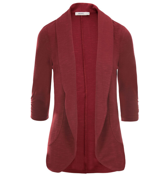 Shawl Collar Cover-Up, Deep Red, hi-res