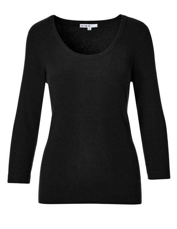 Black Ribbed Pullover Sweater, Black, hi-res