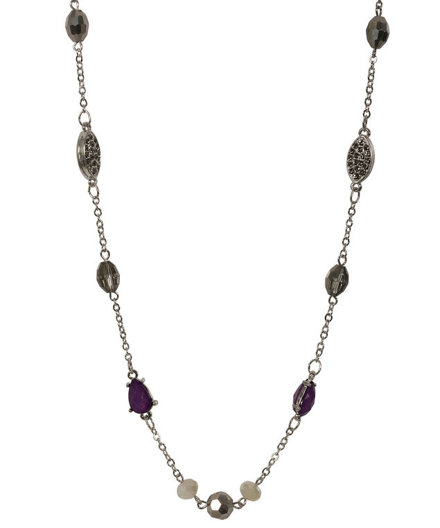 Stationed Bead Necklace, Jet/Rhodium, hi-res