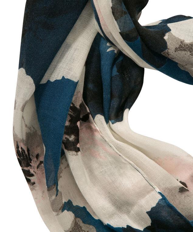 Floral Print Eternity Scarf, Deep Teal/Milkshake, hi-res