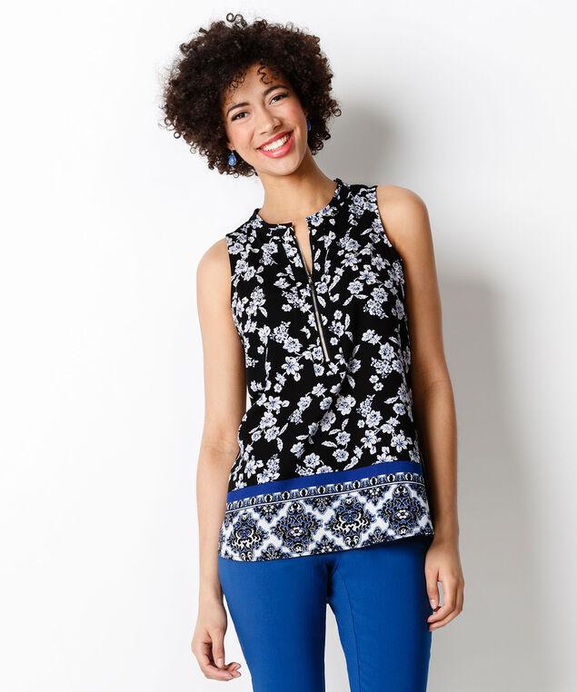Zip Front Knit Tank, Blue Print, hi-res