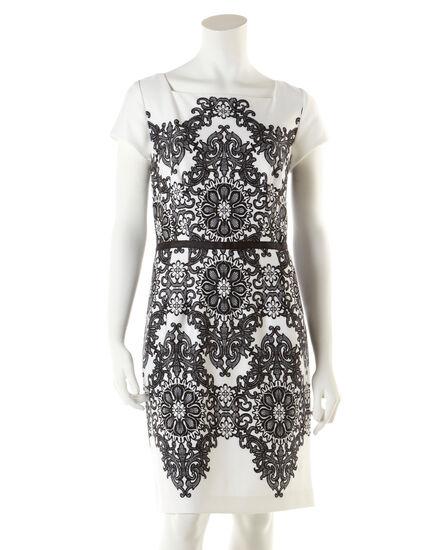 Ivory Ornate Print Shift Dress, Ivory/Black, hi-res