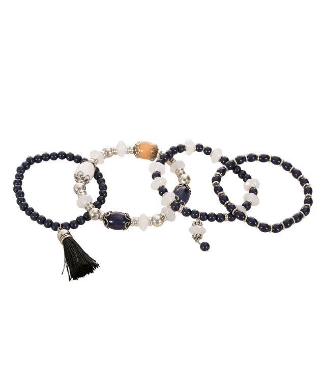 Bead & Tassel Bracelet Set, Deep Blue/Burnished Silver, hi-res