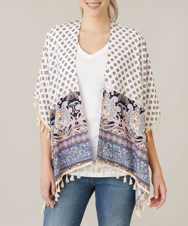 print and tassels kimono, IVORY/BLUE, hi-res