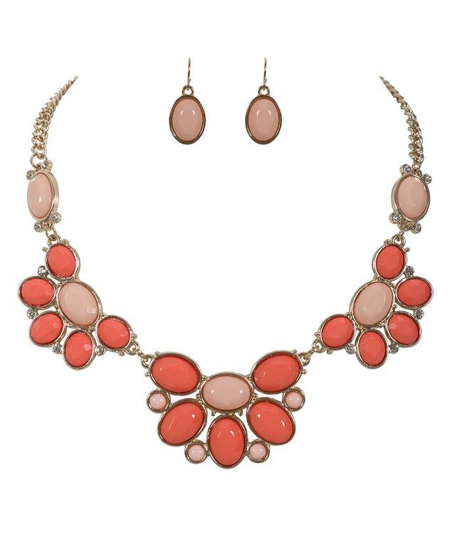 Stone Statement Necklace Set, Peach/Orange/Gold, hi-res