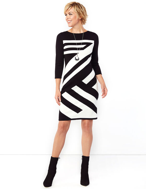 Striped Boat Neck Shift Dress, Black/Ivory, hi-res