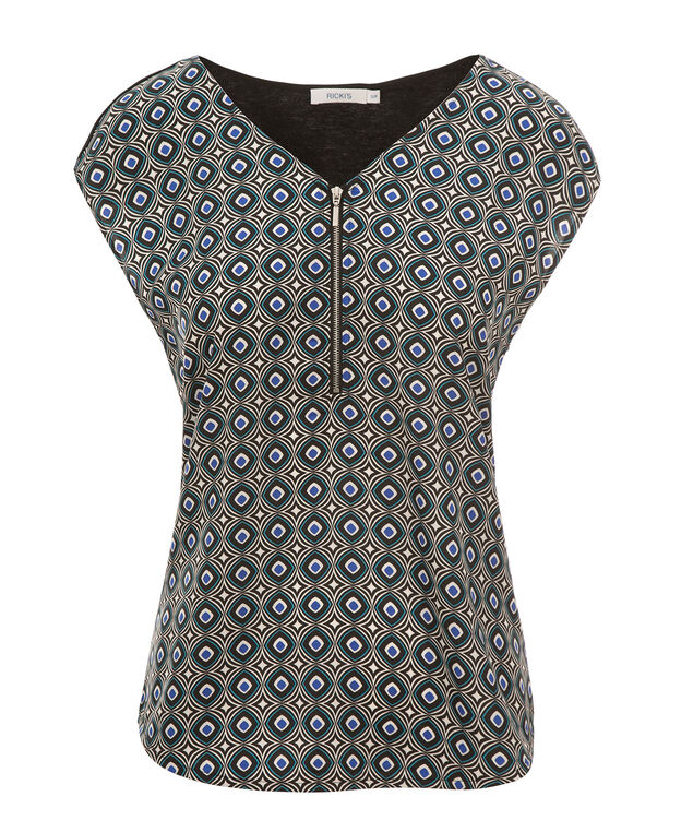 Zip Front Extended Sleeve Top, Sapphire Print, hi-res