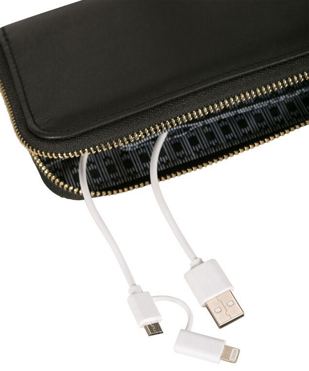 Black Phone Charging Wallet, Black, hi-res