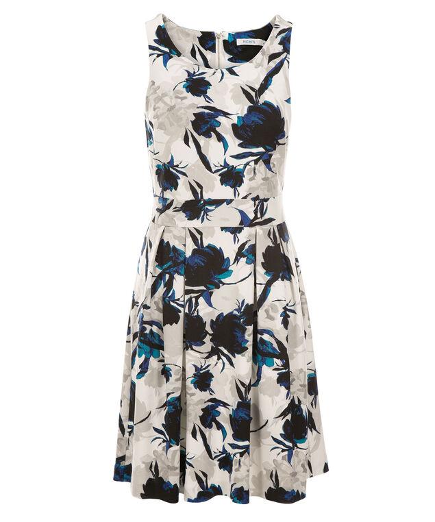 Floral Scuba Dress, Blue/Grey Print, hi-res