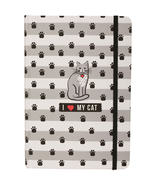 I Love My Cat Notebook, White/Grey, hi-res