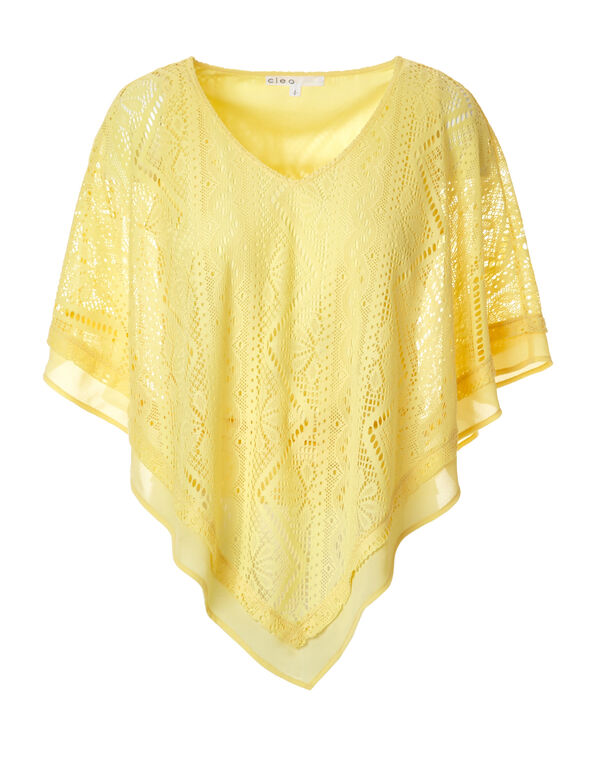 Yellow Lace V-Neck Caftan, Yellow, hi-res
