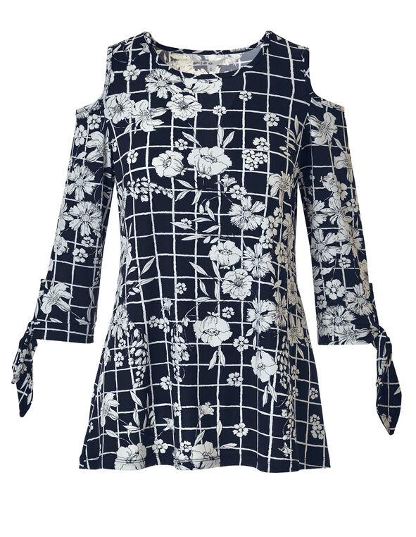 Floral Cold Shoulder Top, Navy/Ivory, hi-res