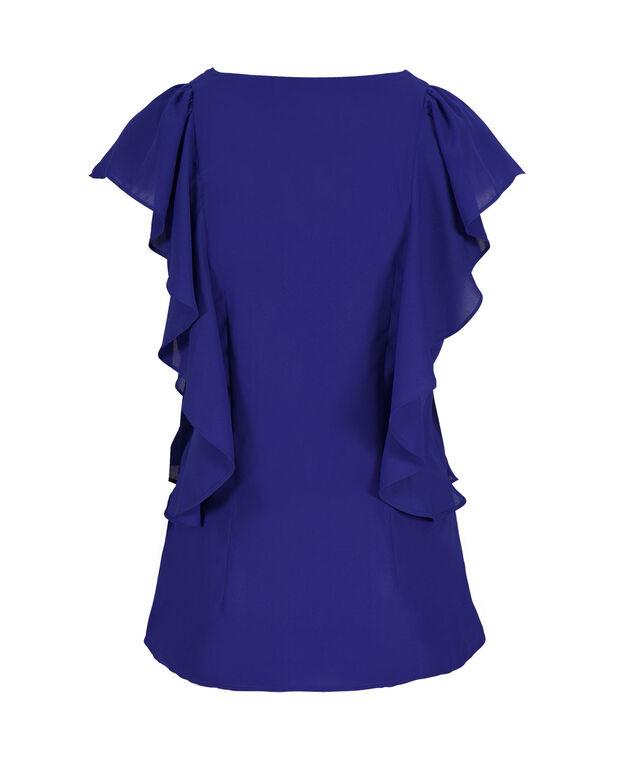 Sleeveless Ruffle V-Neck, Ultra Blue, hi-res