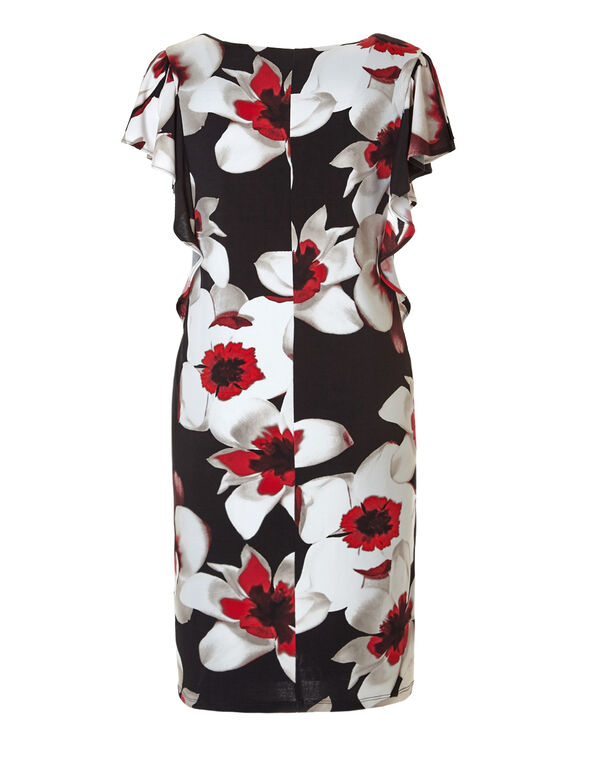 Red Floral Flutter Sleeve Dress, Black/Red/White/Stone, hi-res