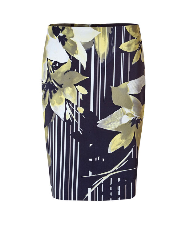 Yellow Print Pencil Skirt, Navy/Yellow/Grey/White, hi-res