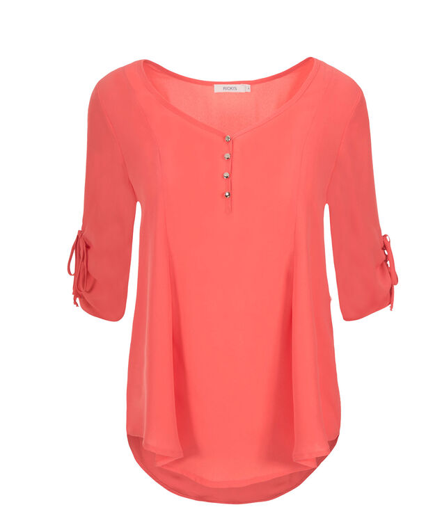 3/4 Ruched Sleeve Henley, Coral, hi-res