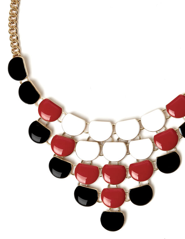 Enamel Statement Necklace, Red, hi-res