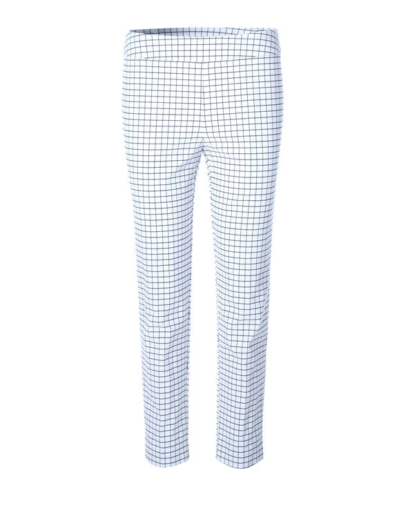 Navy Windowpane Ankle Pant, White/Navy, hi-res