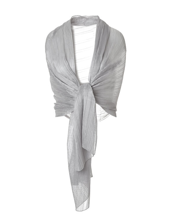 Silver Pleated Dress Shawl, Silver, hi-res