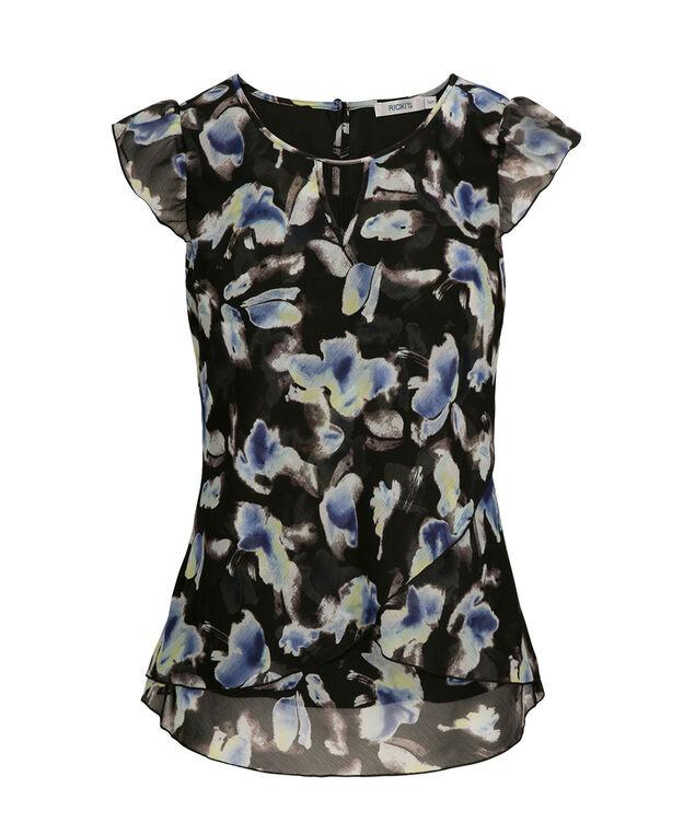 Tulip Hem Flutter Sleeve, Black Print, hi-res