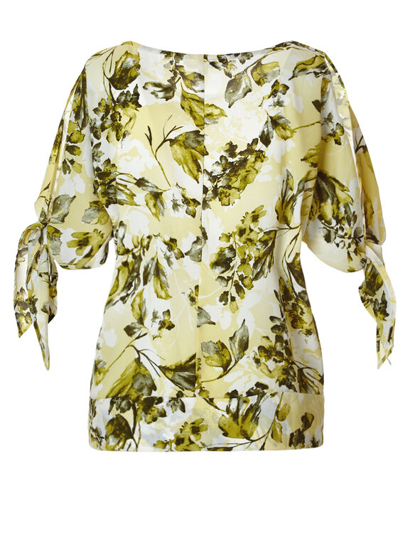 Yellow Tie Cold Shoulder Blouse, Yellow/Olive/White, hi-res