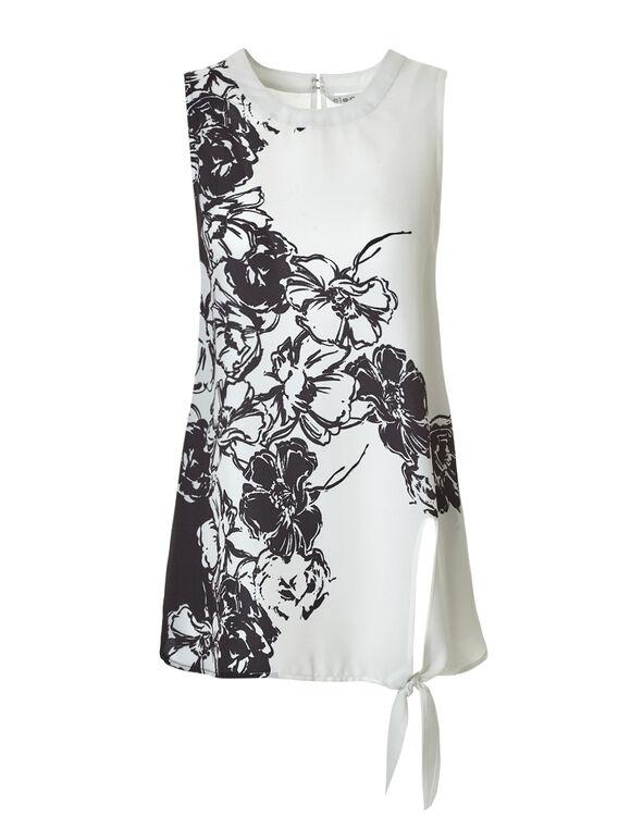Ivory Side Tie Blouse, Ivory/Black, hi-res