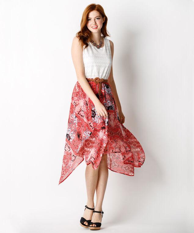 Crochet Sharkbite Dress, Coral Print, hi-res