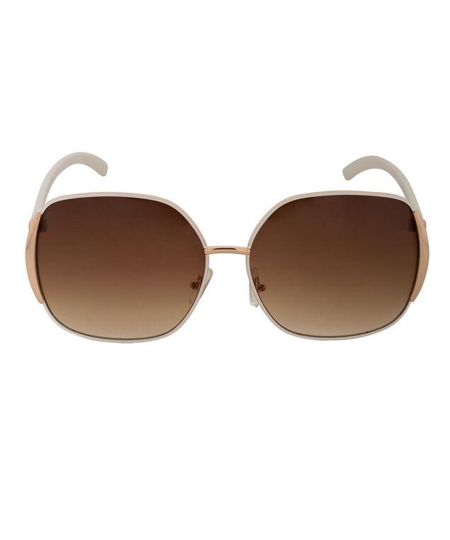 Painted Frame Aviator Sunglasses, White/Gold, hi-res