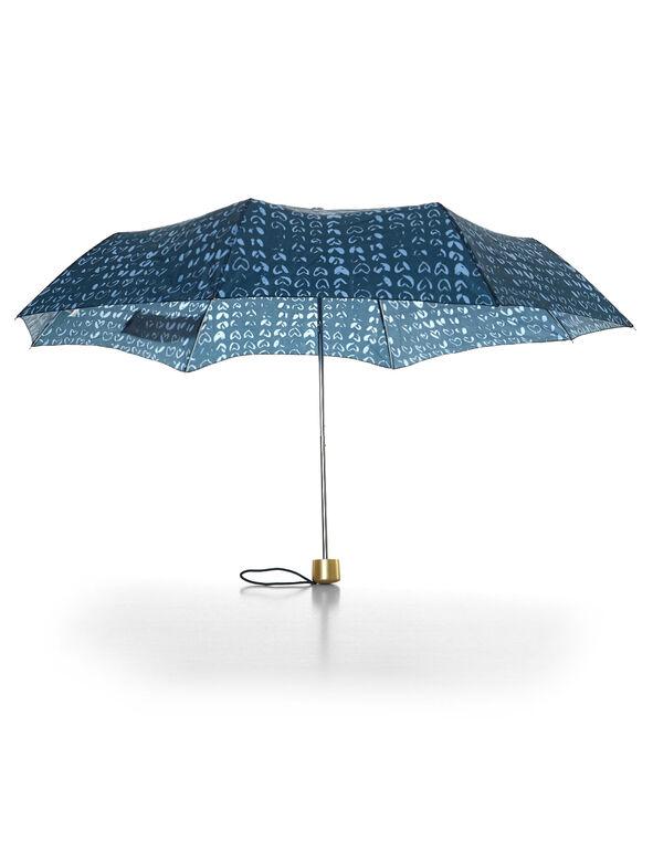 Blue Heart Print Umbrella, Blue/Gold, hi-res