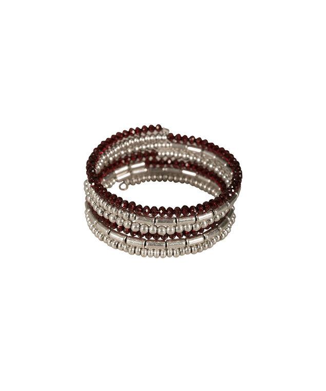 Bead Wrap Bracelet, Burgundy/Burnished Silver, hi-res