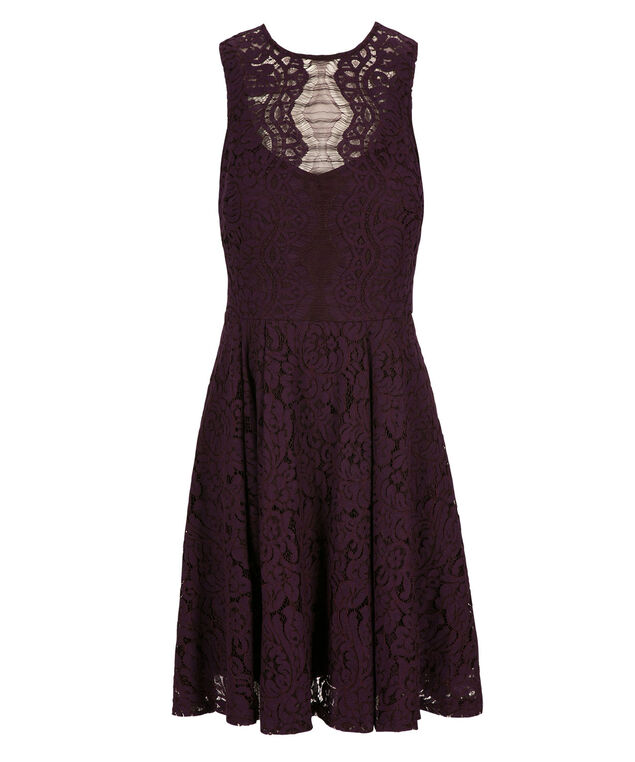 Julian Taylor Illusion Neck Dress, Purple, hi-res