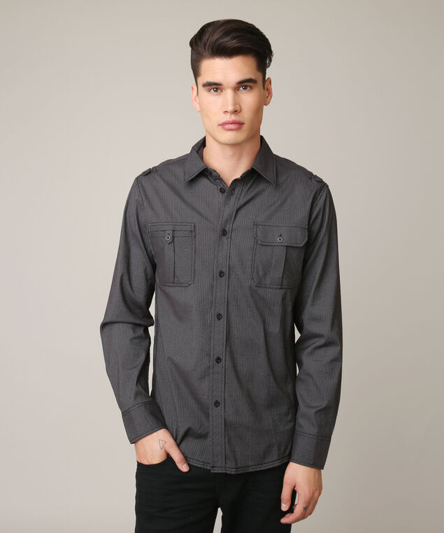 stripe shirt, BLACK COMBO, hi-res