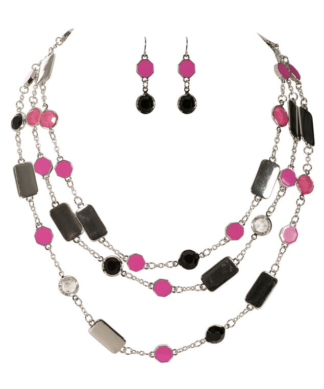 Stationed Pink Epoxy Necklace, Pink/Rhodium, hi-res