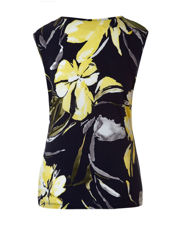 Sleeveless Navy Print Top, Navy/Yellow/Grey, hi-res
