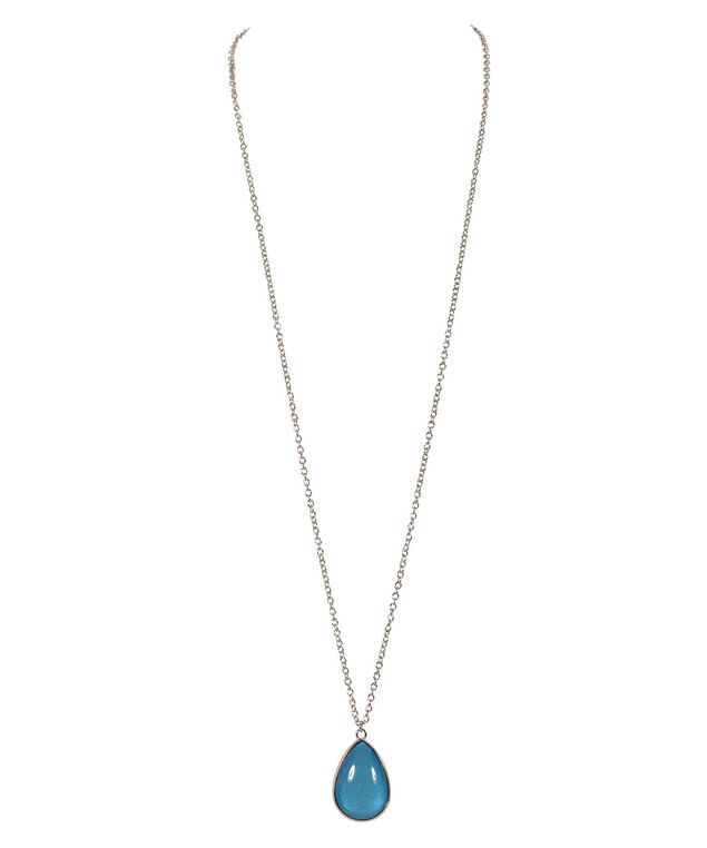 Double Sided Teardrop Necklace, Turquoise/Sapphire/Rhodium, hi-res