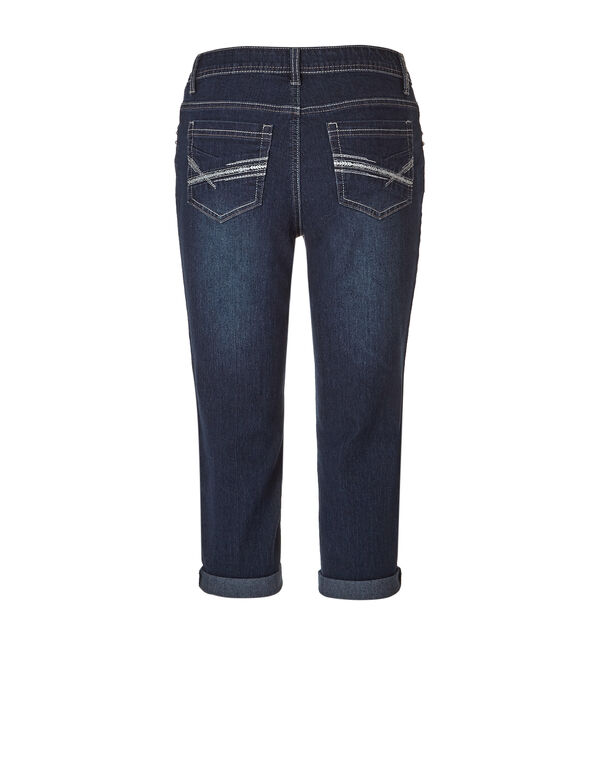 Dark Wash Denim Capri, Dark Wash, hi-res