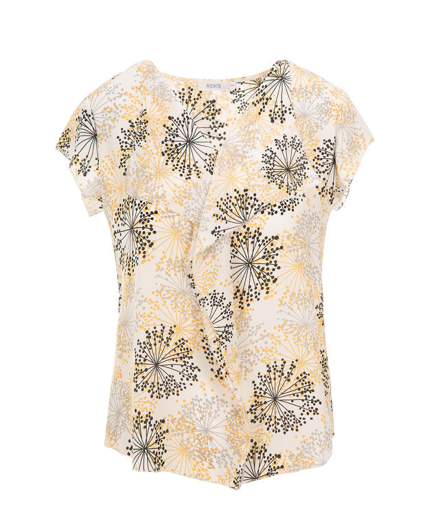 Ruffle Front Flutter Sleeve, Yellow Print, hi-res