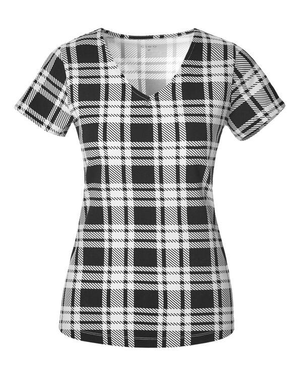 Plaid Print V-Neck Tee, Black/White, hi-res